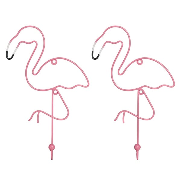 Flamingo Wall Hooks SET OF TWO Colorful Coat Hook Jewelry Hanger Clothing Holder - N/A