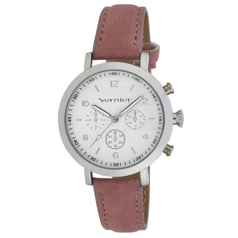 Vernier Women's Silver Case Faux Chronograph Pink Suede Strap Watch