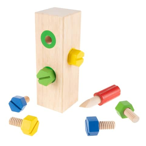 Screw Block Toy Kids Wooden Manipulative with Screws and Screwdriver by Hey! Play! - Green - 3.5 x 3.5 x 6.5