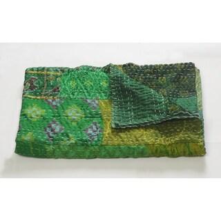 LR Home Peacock Kantha Throw Blanket