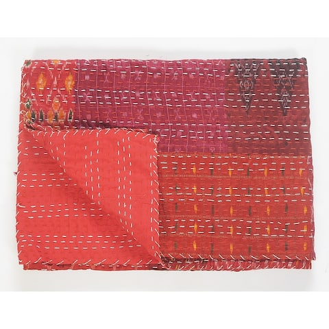 LR Home Hippie Maroon Kantha Throw Blanket
