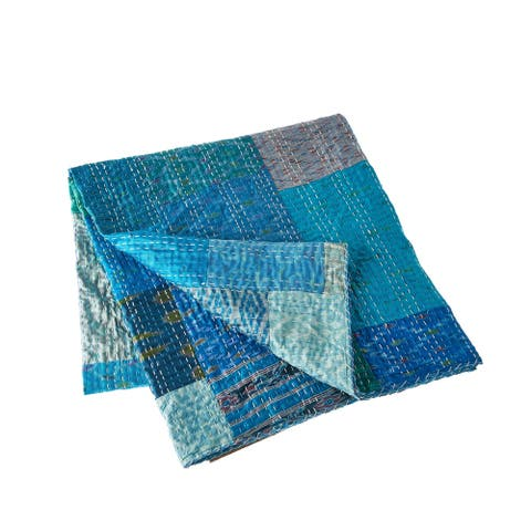 LR Home Color Block Blue Kantha Throw Blanket