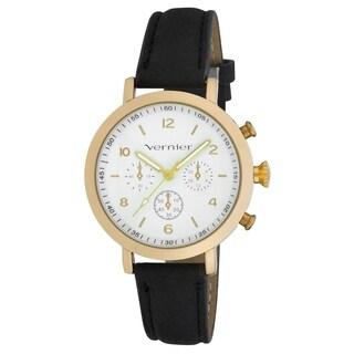 Vernier Women's Gold Case Faux Chronograph Black Suede Strap Watch - One size