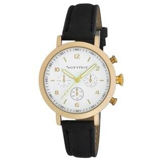 Vernier Women's Gold Case Faux Chronograph Black Suede Strap Watch