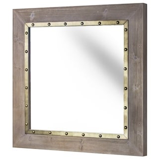 Whitewashed Wood and Metal Decorative Wall Mirror - N/A