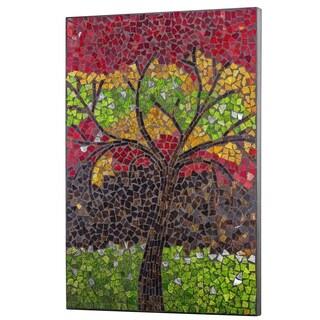 Crushed Glass Mosaic Wall Art - Colorful Tree - N/A