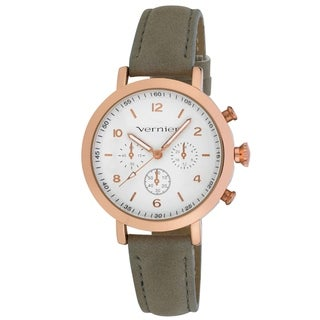 Vernier Women's Rosegold Case Faux Chronograph Grey Suede Strap Watch
