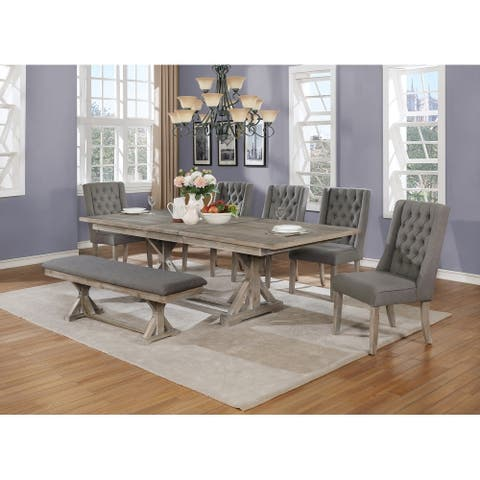 Best Quality Furniture 7-Piece Dining Set with Bench and 18 Inch Leaf