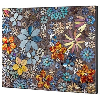 Crushed Glass Mosaic Wall Art - Floral Wall Decor - N/A