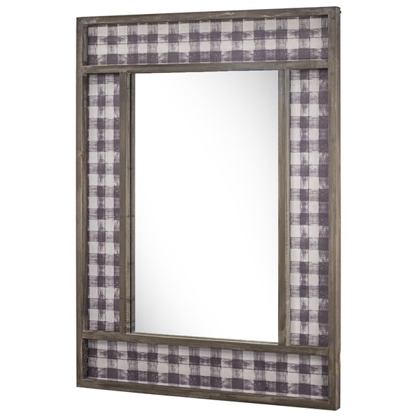 Wooden Decorative Wall Mirror with Plaid Pattern