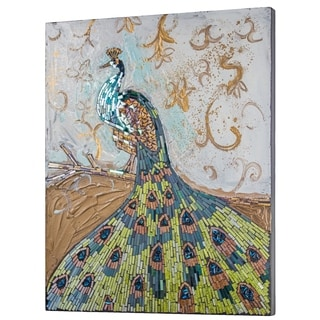 Crushed Glass Mosaic Wall Art - Peacock Wall Decor - N/A