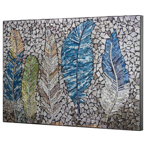 Crushed Glass Mosaic Wall Art - Bird Feathers