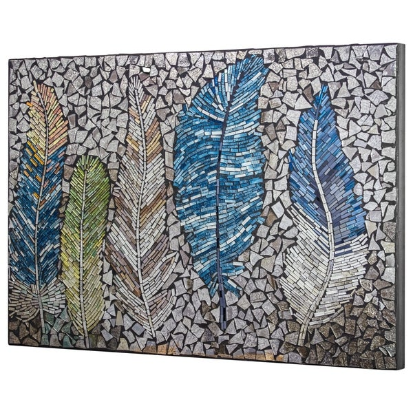 Crushed Glass Mosaic Wall Art - Bird Feathers. Opens flyout.