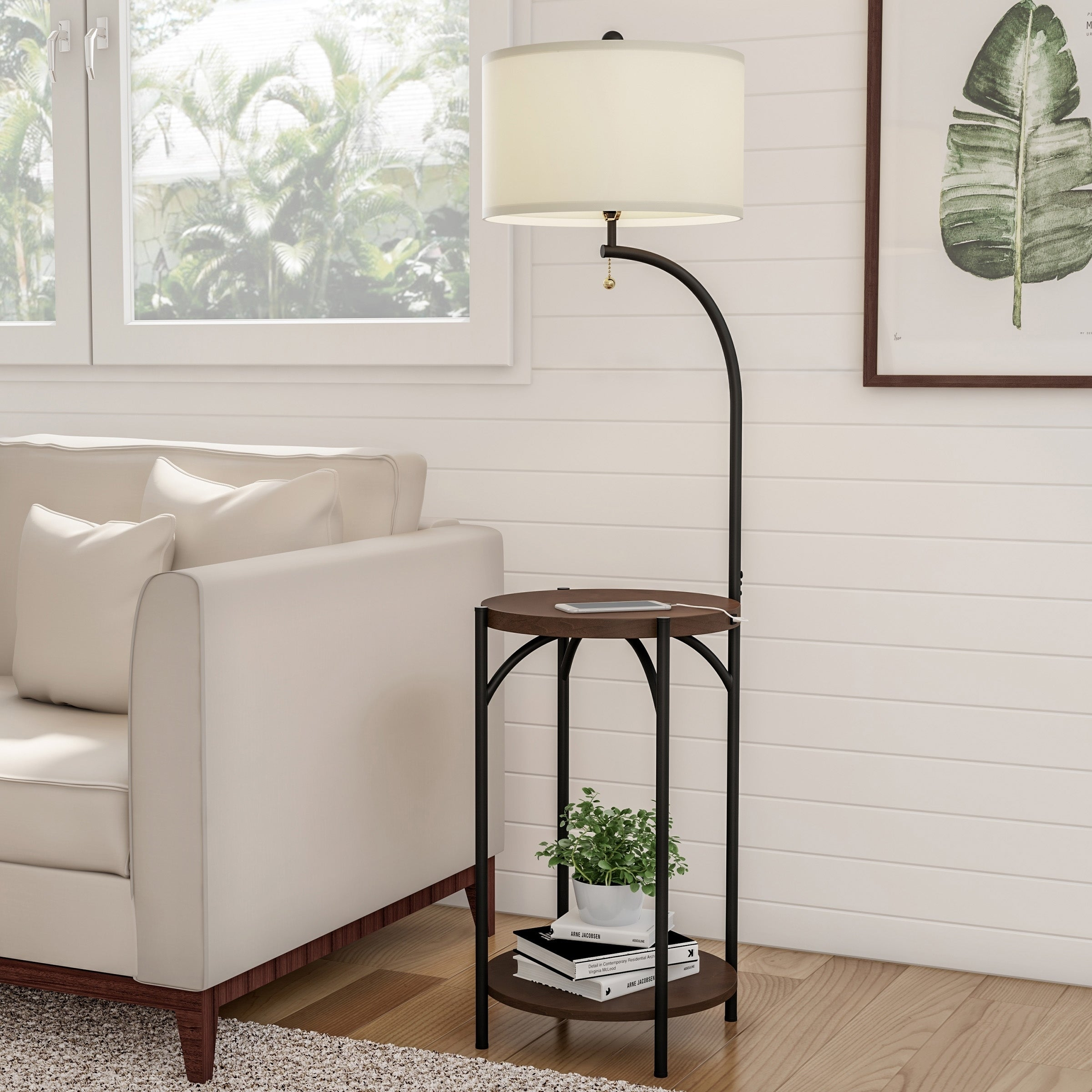 Shop Black Friday Deals On Floor Lamp End Table Modern Rustic Side Table With Drum Shaped Shade By Lavish Home Overstock 28503455