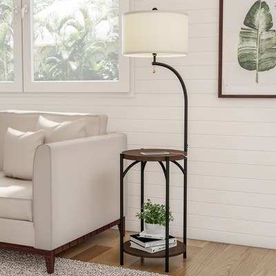 Floor Lamp End Table- Modern Rustic Side Table with Drum Shaped Shade by Lavish Home