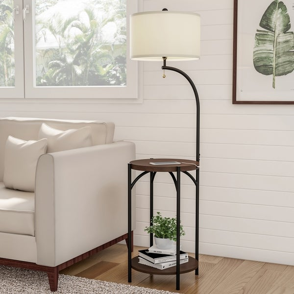 Shop Floor Lamp End Table Modern Rustic Side Table With