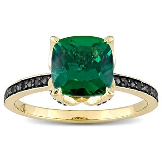 Link to Miadora 10k Yellow Gold Cushion-Cut Created Emerald and Black Diamond Ring Similar Items in Rings