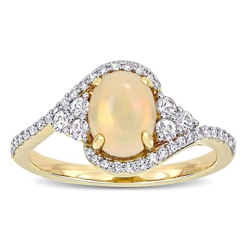 Miadora 10k Yellow Gold Ethiopian Yellow Opal White Sapphire & 1/5ct TDW Diamond Bypass Ring