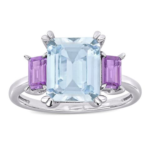 Miadora Sterling Silver Octagon-Cut Ice Aquamarine and Rose de France 3-Stone Ring