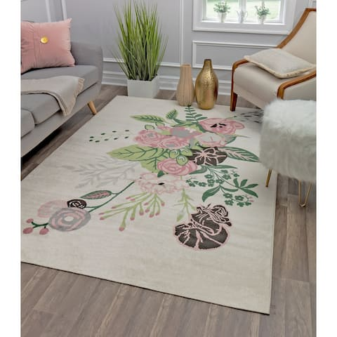 Valentina Floral Charm Ivory Modern Transitional Area Rug By Rugs America