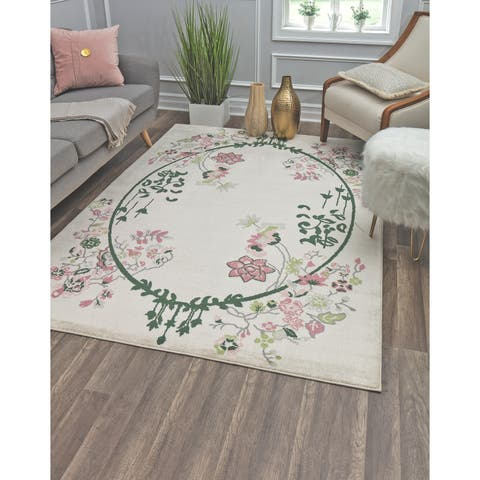 Valentina Magnolia Modern Floral Transitional Area Rug By Rugs America