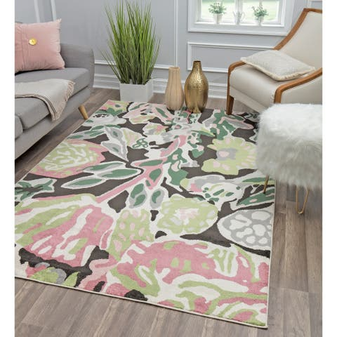 Valentina Summer Blooom Modern Floral Tranisitional Area Rug By Rugs America