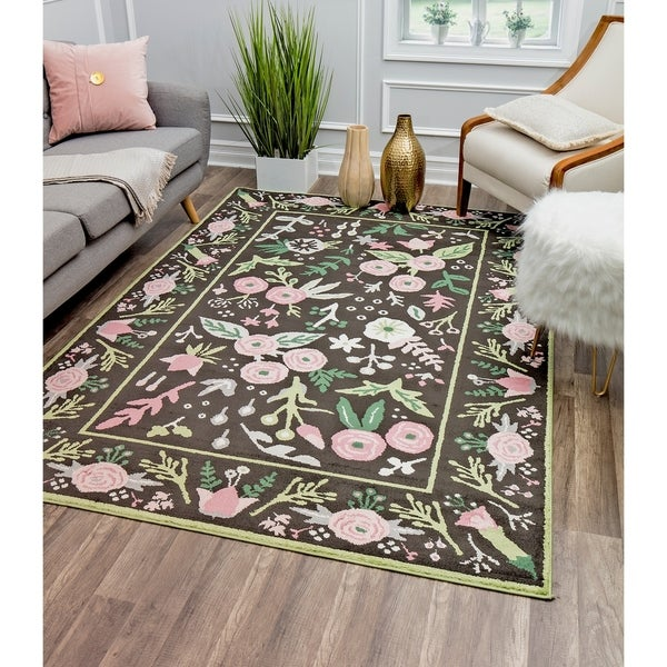 Valentina Gardenia Modern Floral Transitional Area Rug By Rugs America