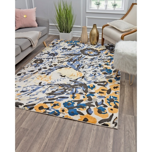 Valentina Blue Honey Modern Floral Transitional Area Rug By Rugs America