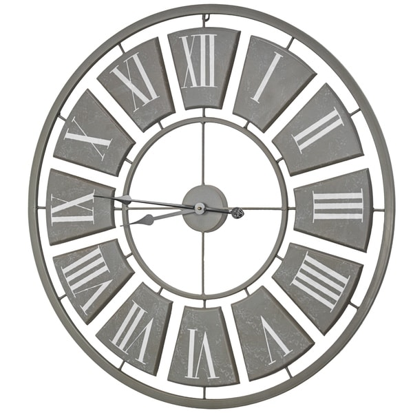 Oversized Metal Hanging Farmhouse Wall Clock - N/A
