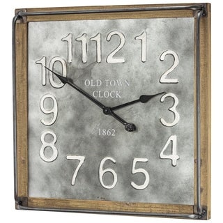 Old Town Clock 1862 Metal and Wood Wall Clock - N/A