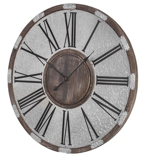 Wood and Metal Oversized Vintage Wall Clock - N/A