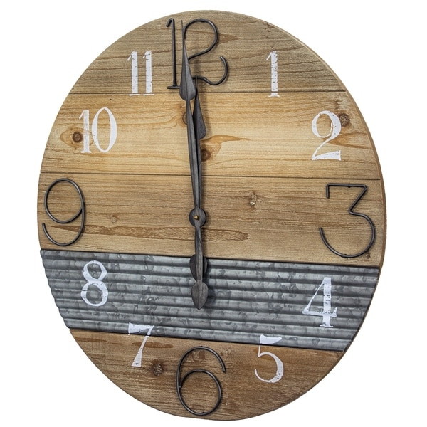 Oversized Wood and Metal Farmhouse Wall Clock - N/A