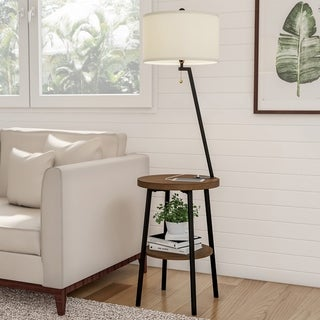 """Floor Lamp End Table Mid Century Modern Side Table Drum Shade by Lavish Home - 58"""""""