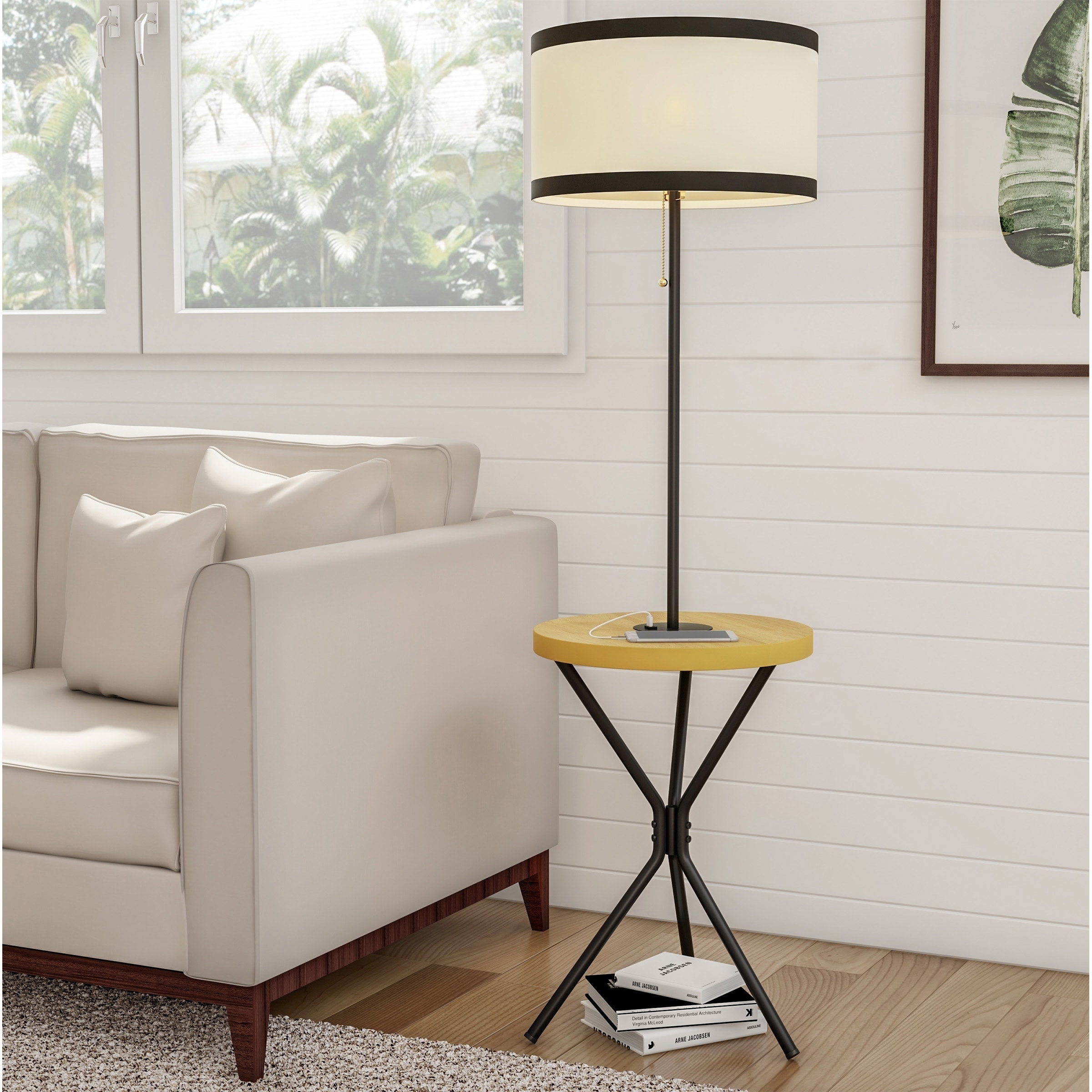 Floor Lamp End Table Mid Century Modern Side Table With Drum Shape Shade By Lavish Home