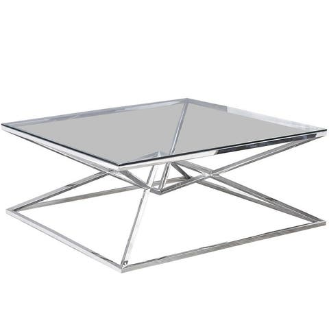 Best Master Furniture Angled Stainless Steel Square Coffee Table