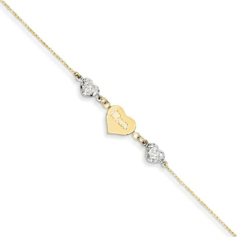 Curata Women's 14k Two-Tone Gold Ropa Diamond-Cut Beads Puff Heart Love Anklet - 9 + 1 Inch