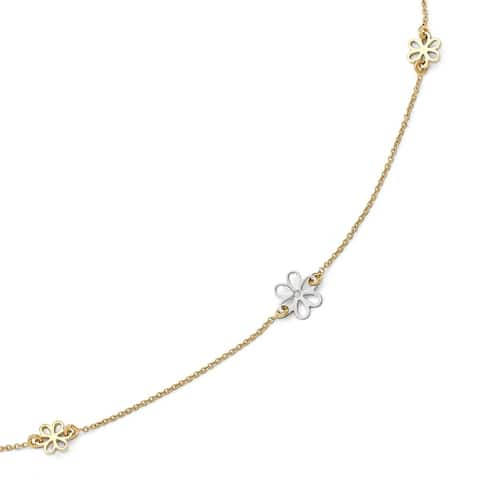 Curata Women's Italian 14k Two-Tone Gold Polished Daisy Flower Station Anklet - 10 Inch