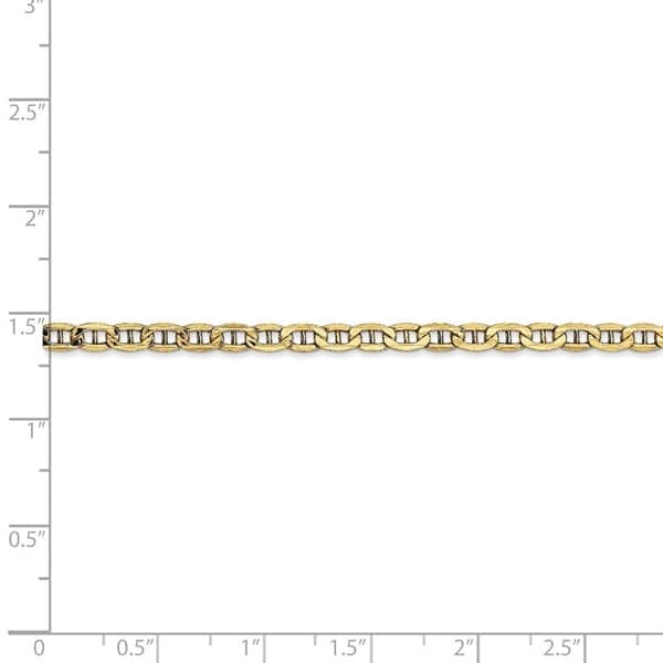 """10k Solid Yellow Gold High Polish Mariner Anchor Anklet 10/"""" 3.2mm"""