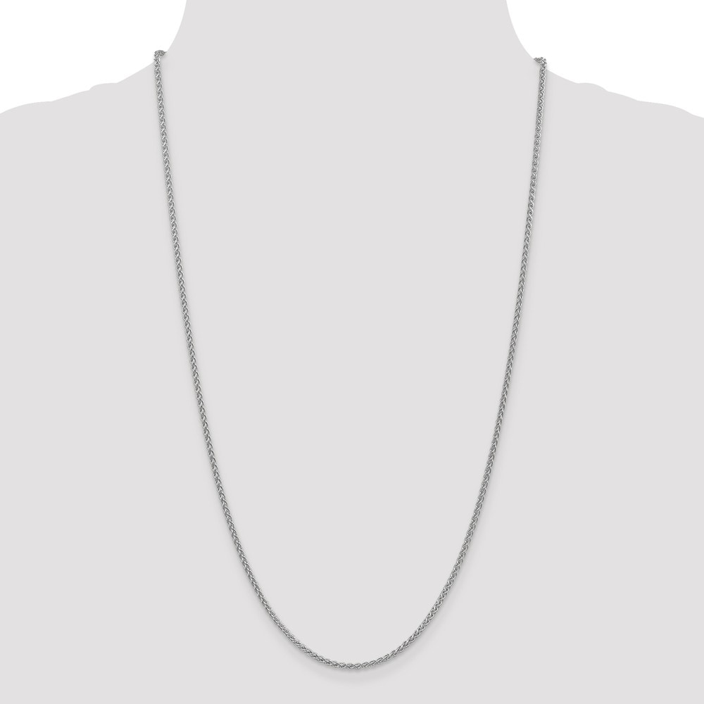 Length 9 in 14k White Gold 2mm Solid Polished Spiga Chain 14 kt White Gold