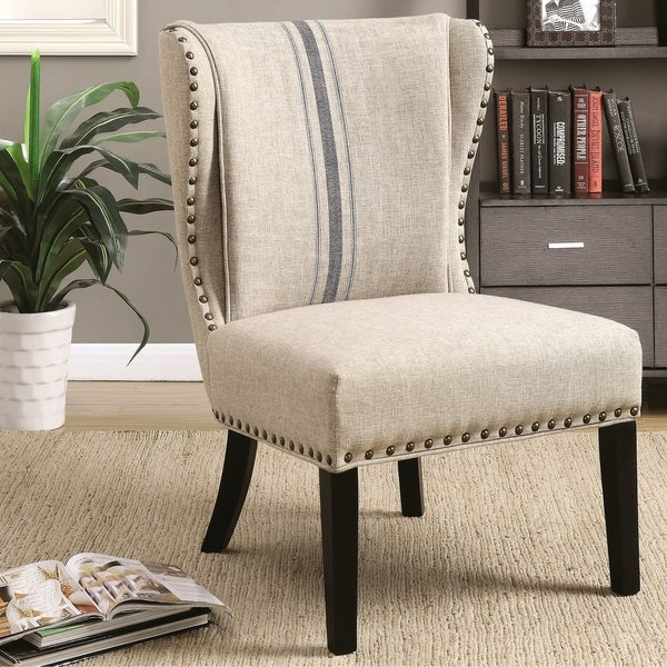 Accent Chair With Arms Nail Head Design: Shop Demi Wingback Design Grey Accent Chair With