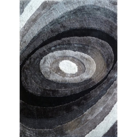 5'X7' Hand Tufted Grey with Black Area Rug with Geometric Pattern Black rugs for sale - Big/5' x 7'