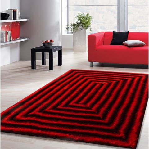 Crimson Red Rectangular 3D Zen Design Modern Hand Tufted Shag Area Rug Red Black (5'x7') Red Black rugs for sale - 5' x 7'/Big