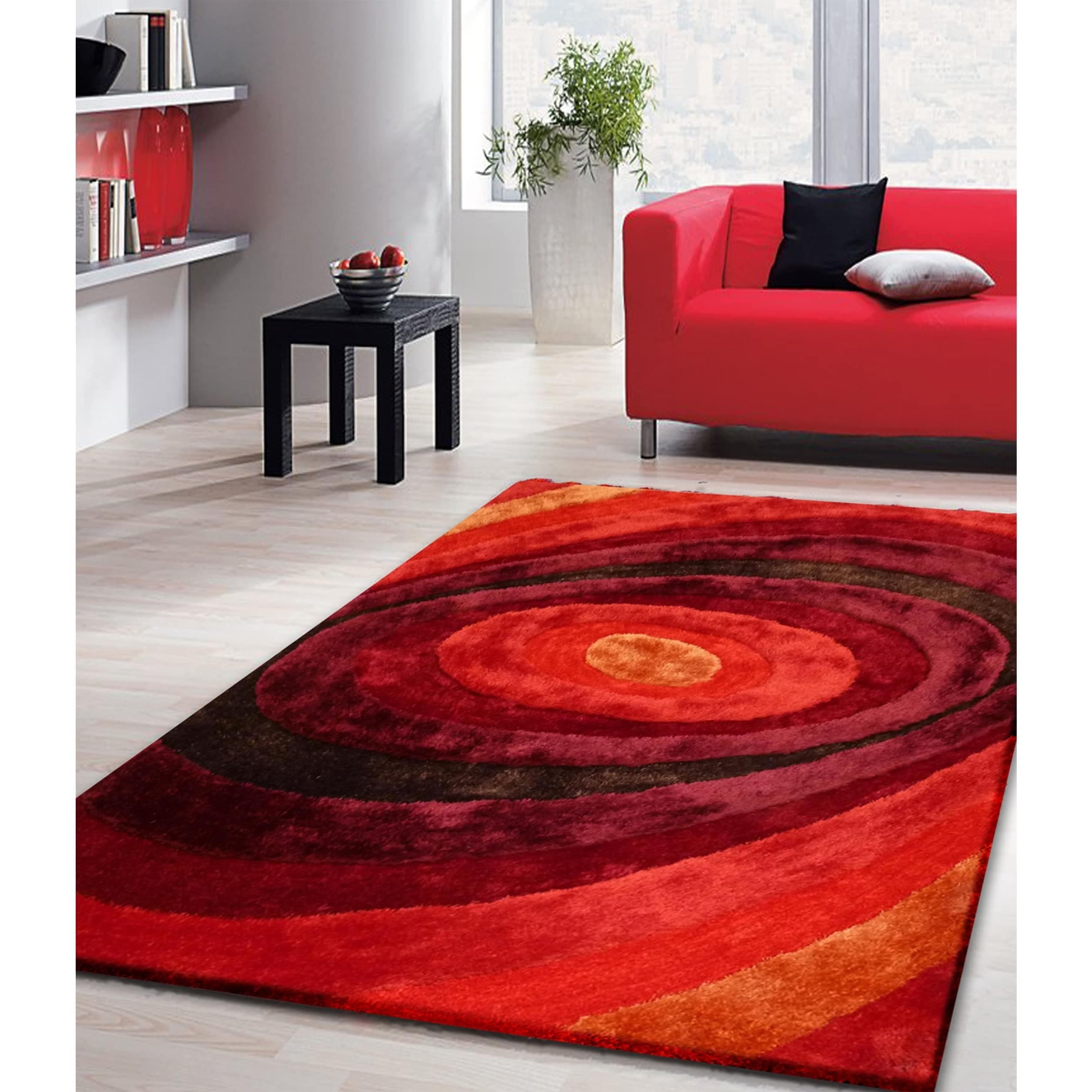 Vibrant Universe Red Orange Burgundy Hand Tufted Area Rug 5 X 7 Brown Rugs For