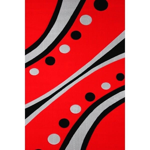 Rainbow & Dots Red Black Silver Hand Carved Area Rug (5'3 X 7'5) Grey Red Black rugs for sale - 5'3 x 7'5/Big