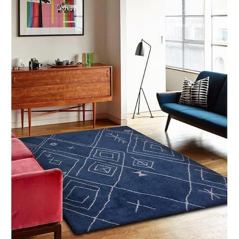 Blue / White Diamond Moroccan Mountain Shag Area Rug ( 5' X 7' ) Blue rugs for sale - 5' x 7'/Big