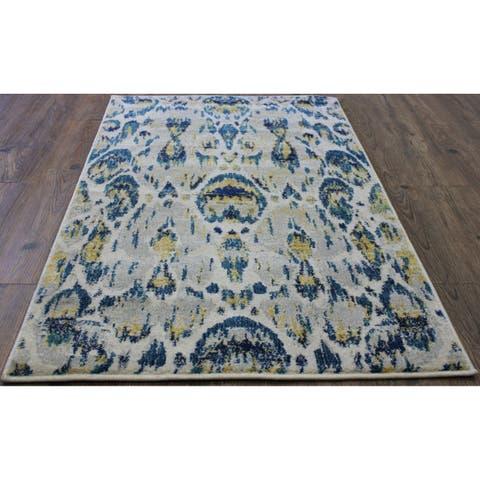 Blue and Yellow Abstract Area Rug (5'3 x 7'5) Grey Blue rugs for sale - 5' x 8'/Big