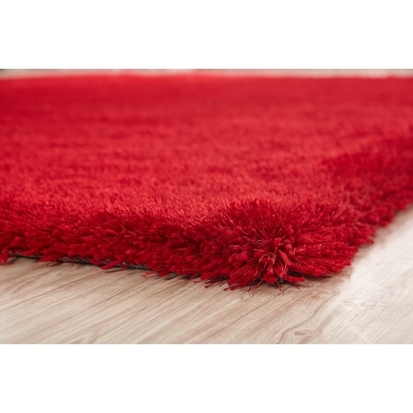 Red Color Shag Hand Tufted Rugs with 2-Inch Thickness Height Red rugs for sale - Big/5' x 7'