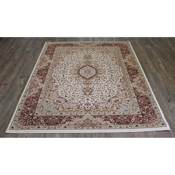 Beige Isfahan Persian Area Rug (5'3 x 7'5) Brown rugs for sale - 5'3 x 7'5/Big