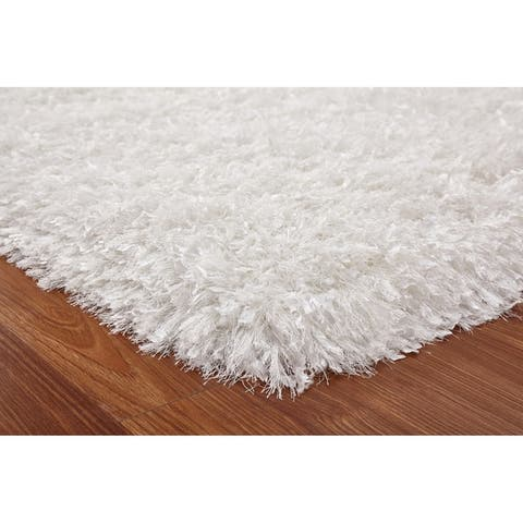 3-Inch Thick Plush Shag Rug, 3 Handmade type Yarns, Cotton Backing Green rugs for sale - Big/5' x 7'