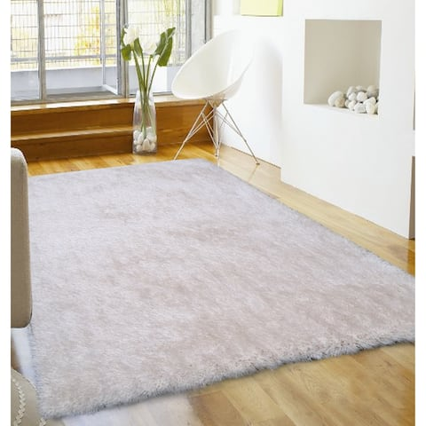 "Soft Shaggy Rug Runner Brimming with an Elegant Shade of Off White (2'x7'5) White rugs for sale - 2' x 7'5""/Big"